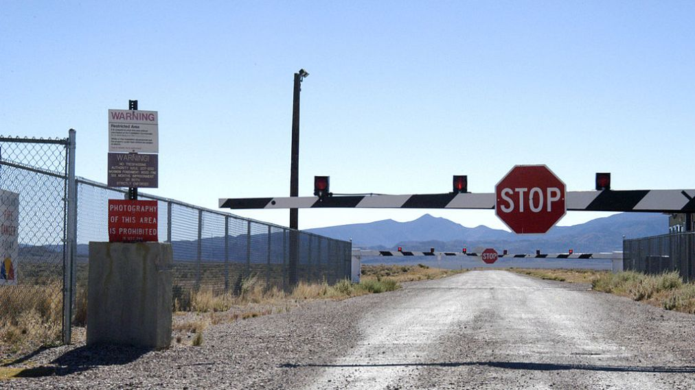 Guard Gate at Area 51 (Groom Lake, Dreamland) near Rachel, Nevada (Photo by Barry King/WireImage)